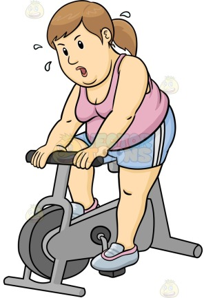 A sweating fat woman using the stationary bike